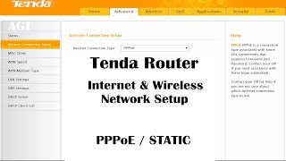 Tenda router internet & wireless network settings (PPPoE / STATIC)
