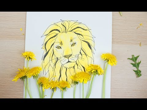 Dandelion Lion - How to Color with Dandelions