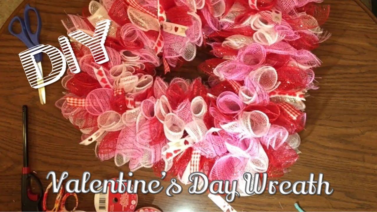 Diy Dollar Tree Deco Mesh Valentine S Day Wreath Youtube