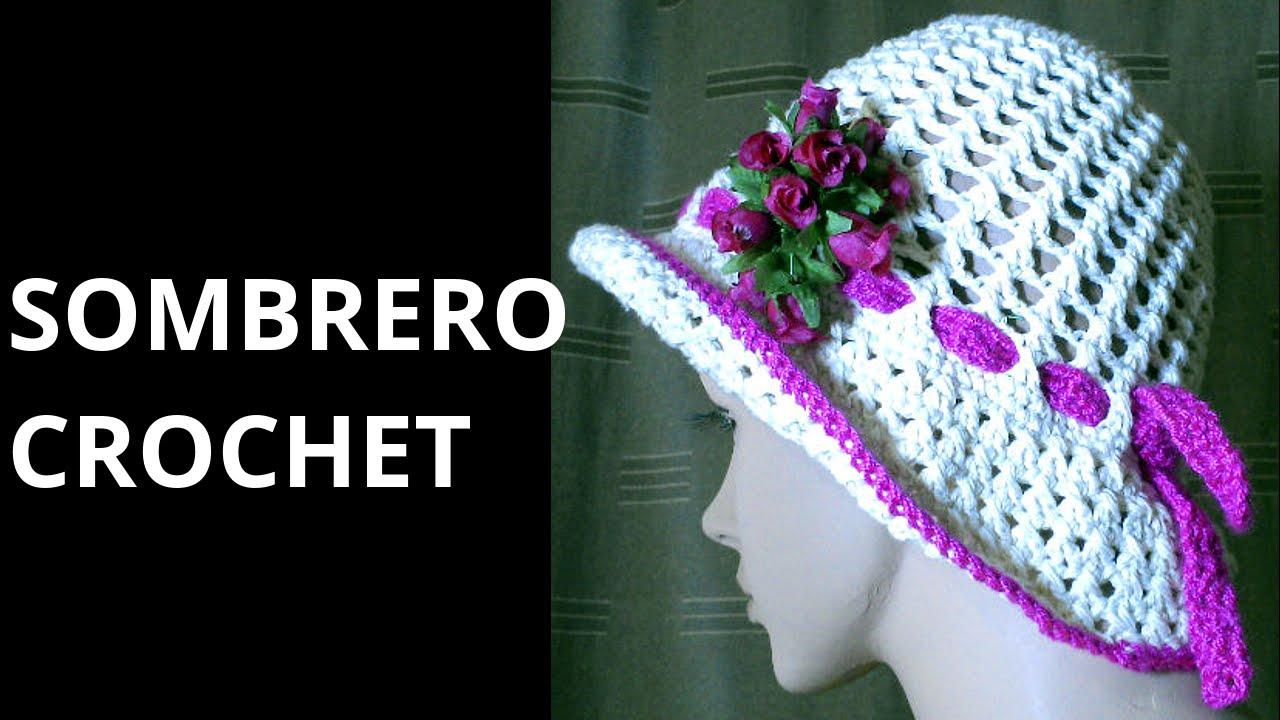 SOMBRERO Punto Cruzado en tejido #crochet o ganchillo tutorial paso ...