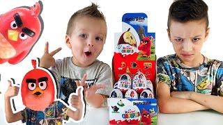 Angry birds в Кино Киндер ЧЕЛЛЕНДЖ кто больше соберет разных игрушек Kinder Eggs Challenge with toys