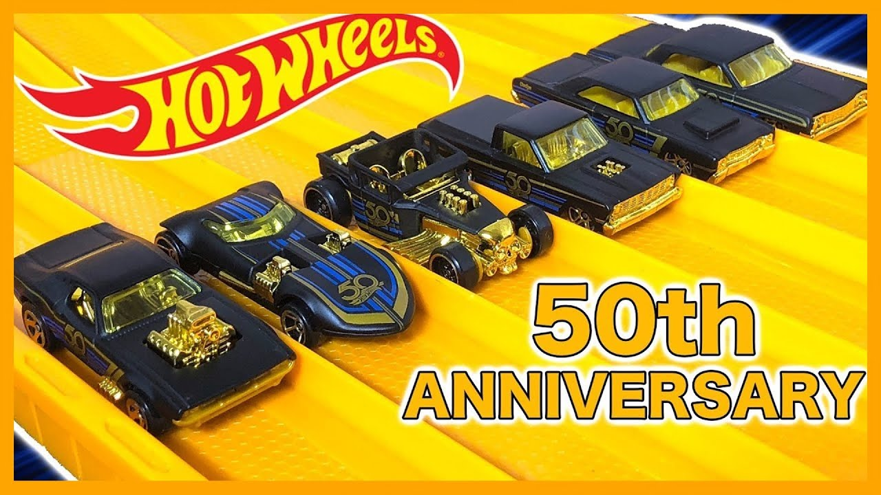 Hot wheels th anniversary car set race review youtube