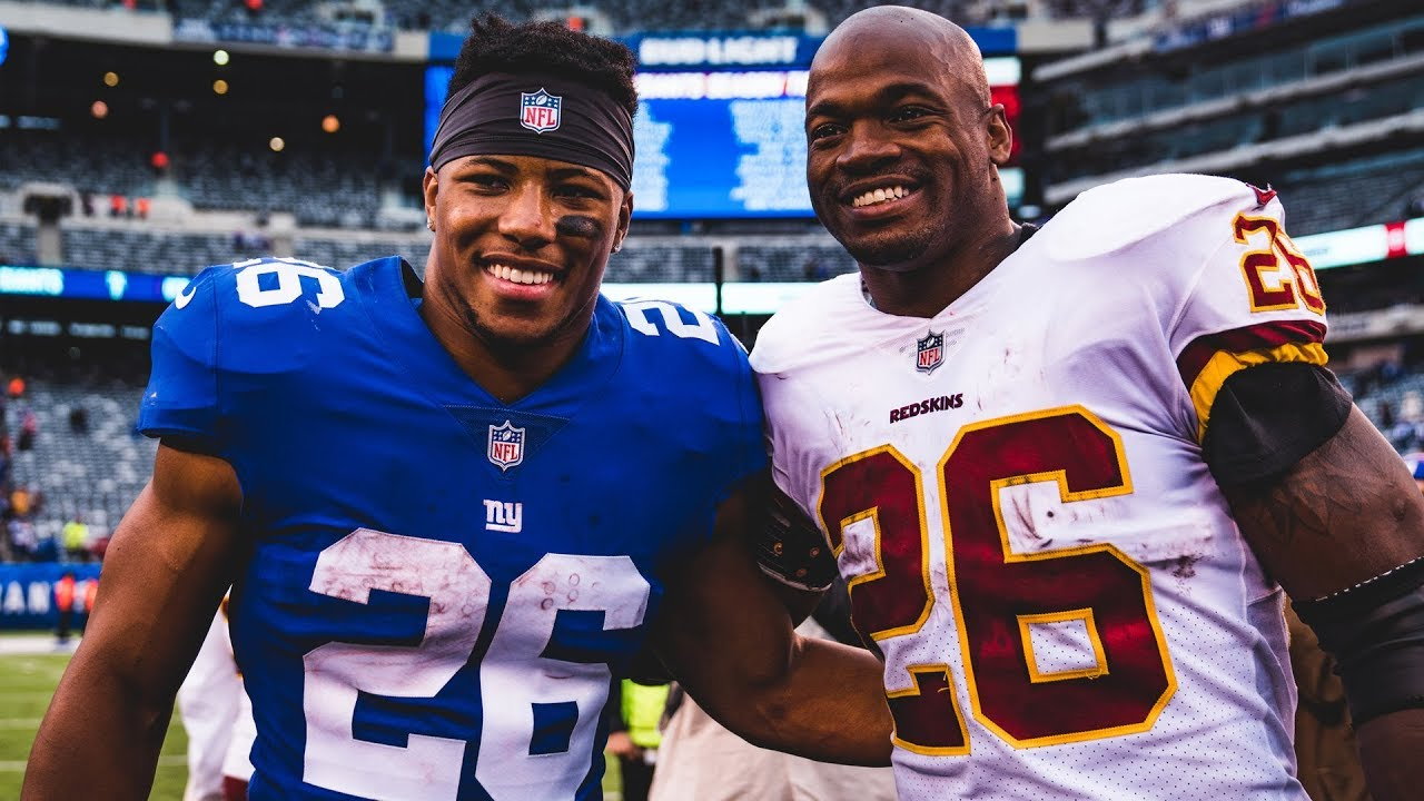 super popular 74924 05e34 Saquon Barkley gets pep talk from Adrian Peterson