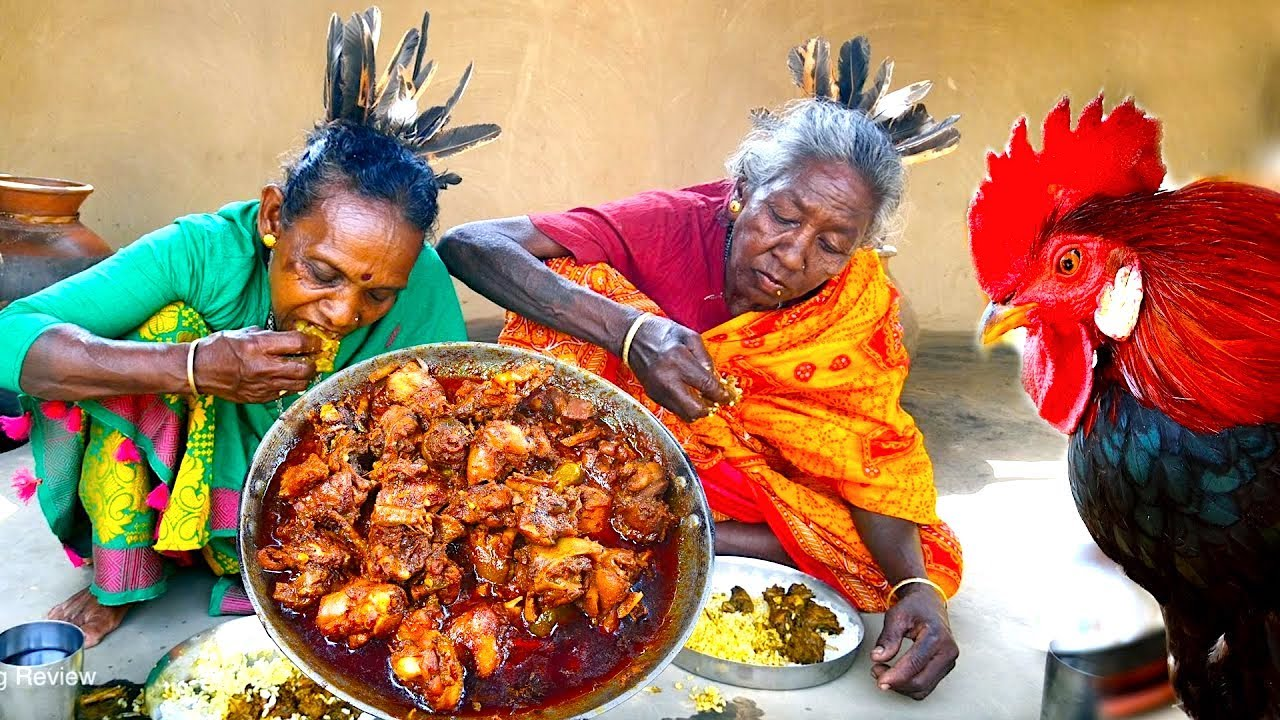 COUNTRY RED CHICKEN CURRY cooking by tribal grandmothers | How grandmothers cooking village chicken