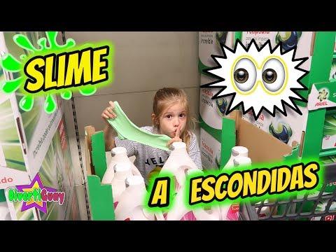 HACIENDO SLIME A ESCONDIDAS EN EL SUPERMERCADO!! SLIME EN SECRETO