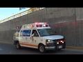 Ambulancia ERUM SSP CDMX en código 3 + escolta PBI a vehículo de la DGTPA