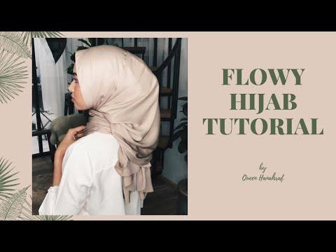Flowy Satin Shawl Hijab Tutorial   QueenHanahraf - YouTube