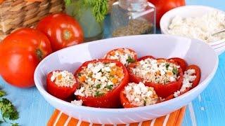 Фаршированные помидоры с чесноком и сыром