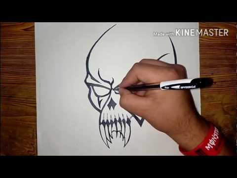 How To Draw A Cool Tribal SKULL Tattoo | Easy Method || MadMaXx Production ||