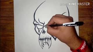 Video How To Draw A Cool Tribal SKULL Tattoo | Easy Method || MadMaXx Production || download MP3, 3GP, MP4, WEBM, AVI, FLV Juli 2018