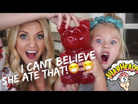 4 YEAR OLD DOES SOUREST GUMMY CHALLENGE!! (EATS REAL PIG FEET)... W/ COLLINS KEY