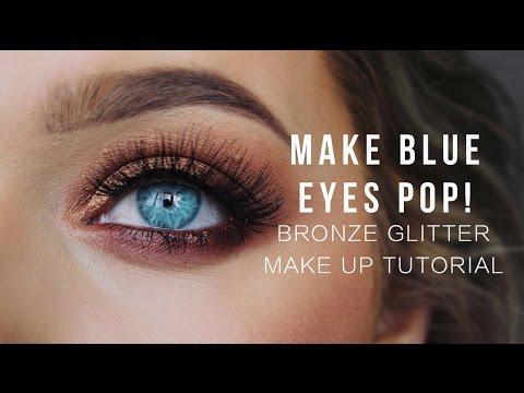 Make Blue eyes POP! Bronze Glitter Make up Tutorial!