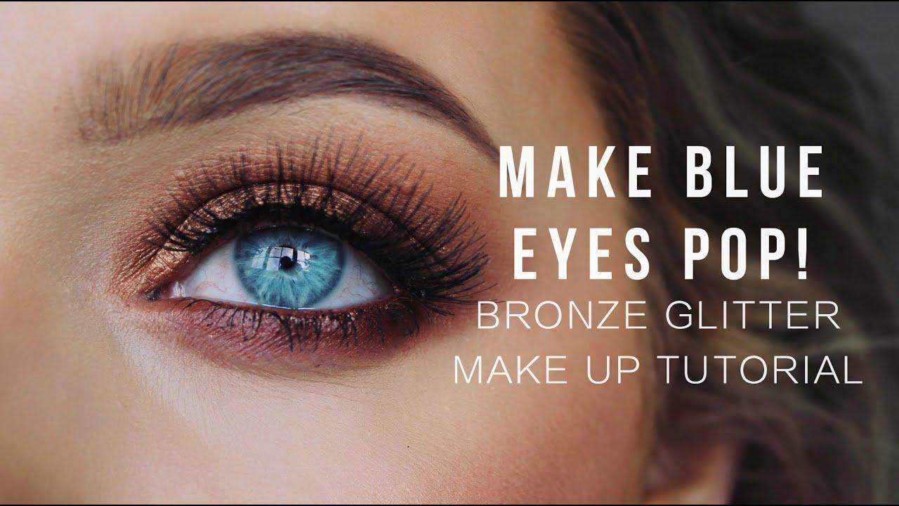 make blue eyes pop! bronze glitter make up tutorial! | rachel leary