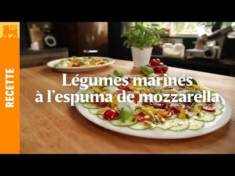 Légumes marinés à l'espuma de mozzarella