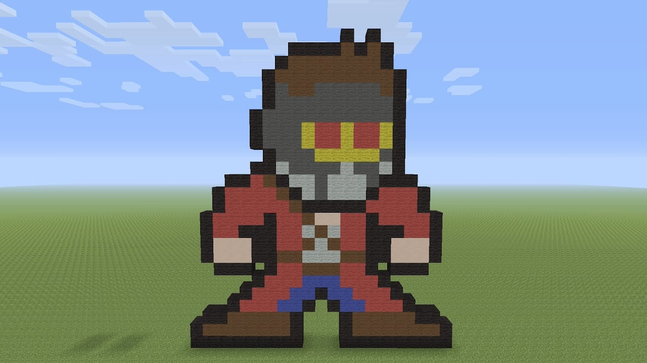 Minecraft Pixel Art Star Lord Peter Quill 8bit From Guardians Of The Galaxy