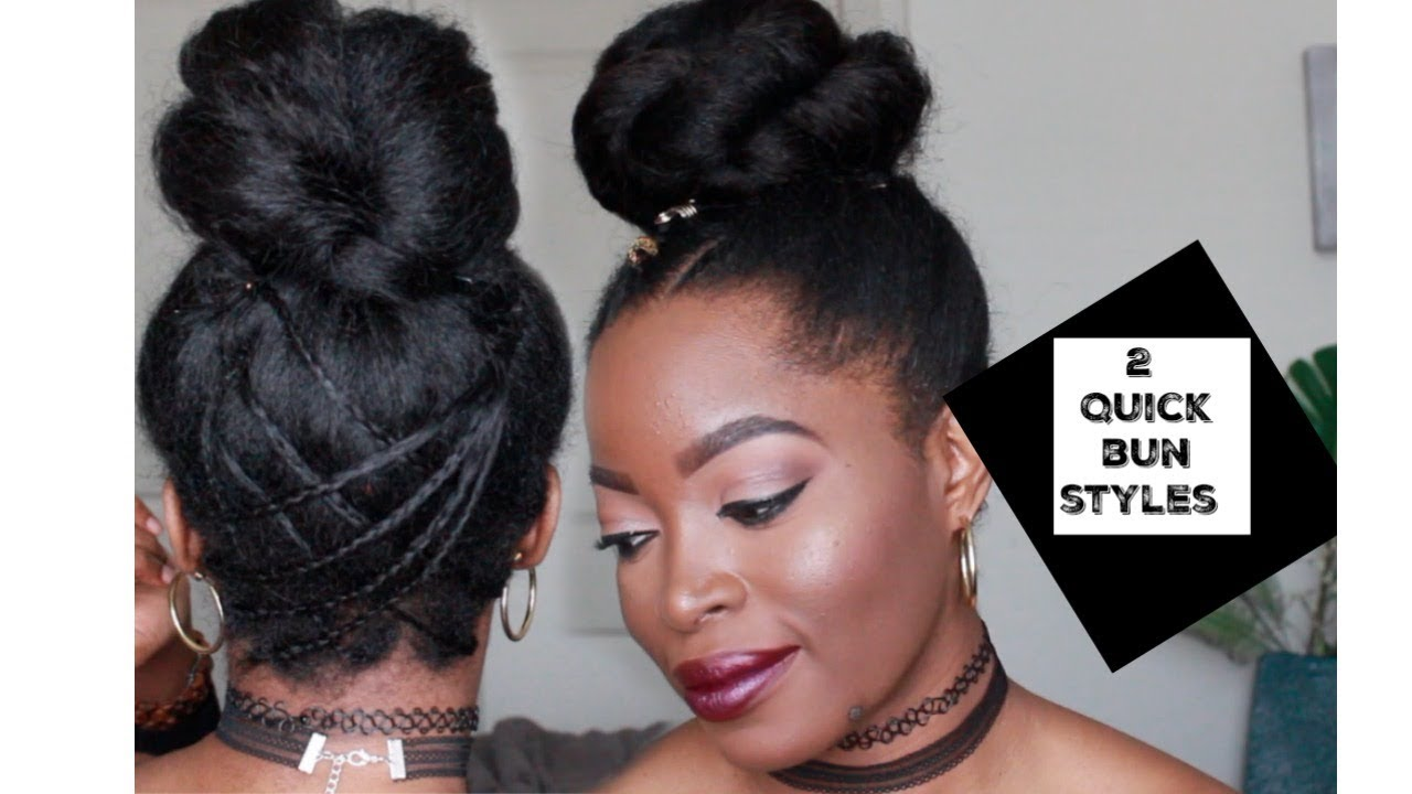 2 Bun Styles With And Without Extensions On Natural Hair Top Knot Twisted Bun Protective Styles Youtube