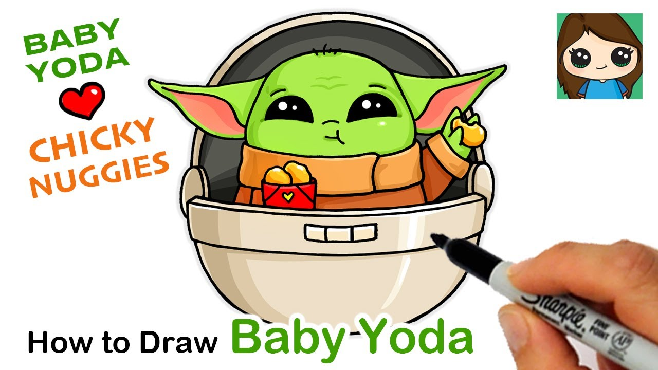 How To Draw Baby Yoda Eating Chicky Nuggies Youtube