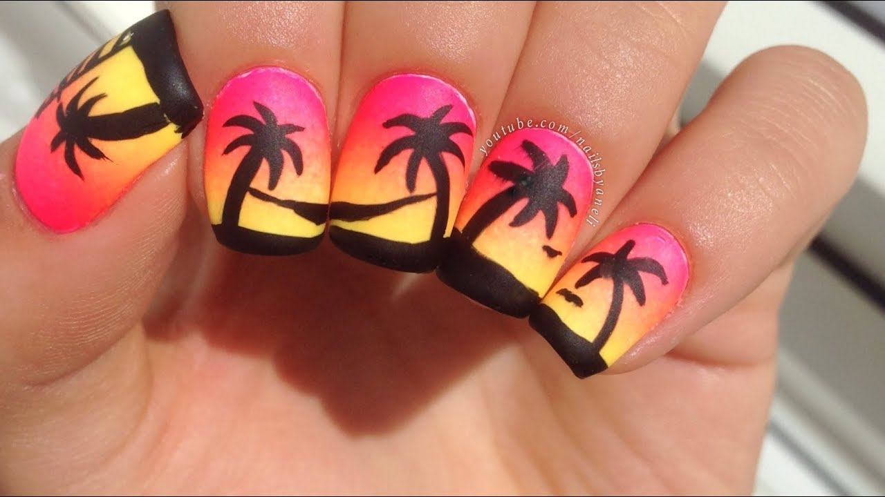 Easy Neon Gradient and Palm Tree Nail Art - YouTube
