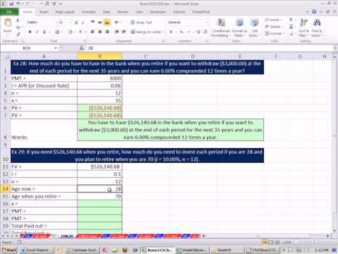 Excel Finance Class 33 Full Life Retirement Plan PV Annuity  FV