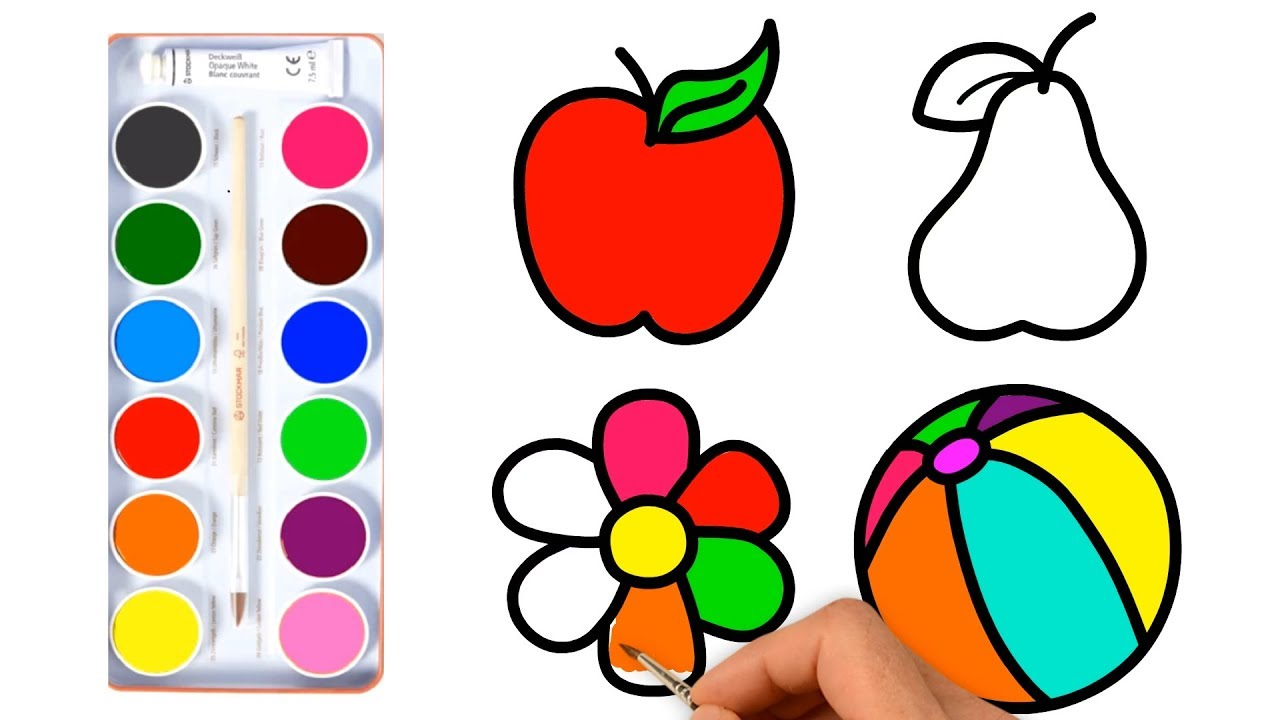Baby drawings fruit Toy flower Coloring pages for kids - YouTube