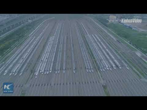 Stunning aerial view of high-speed train maintenance center in Wuhan