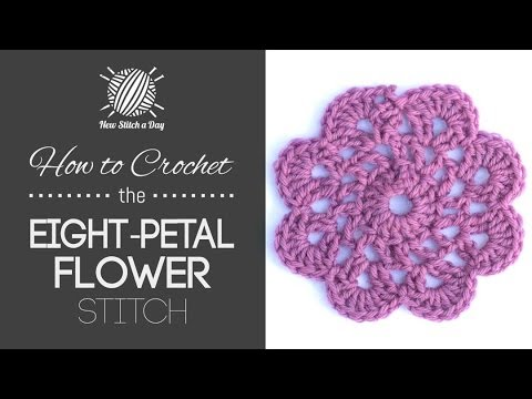 How To Crochet The Eight Petal Flower Motif Youtube