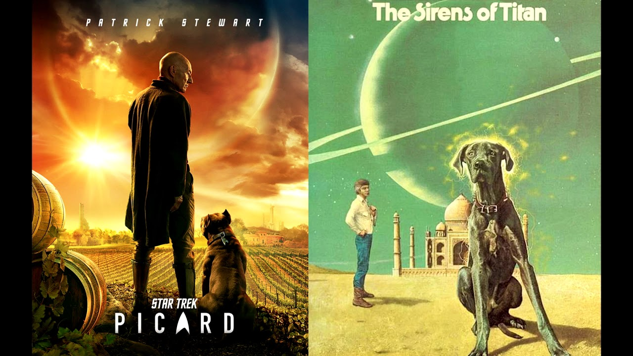 star trek picard poster similar to cover of the sirens of titan book