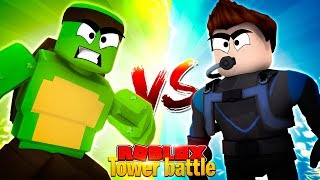 TOWER BATTLE 1 V 1 VS SCUBA STEVE - Roblox Tower Battles