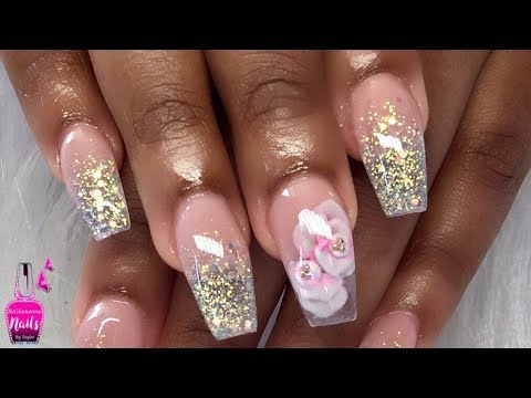 watch me work  glitter ombre encapsulated 3d roses