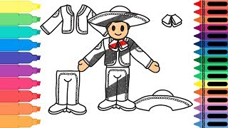 How to Draw Mexico Mariachi - Drawing Mexican Mariachi Clothing for kids | Tanimated Toys