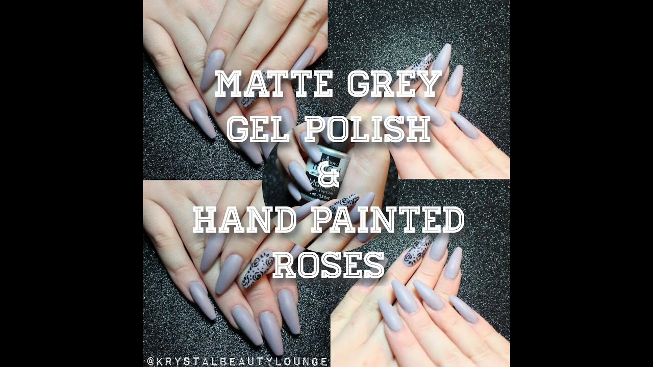 Matte Grey Nails Gel Polish Hand Painted Roses