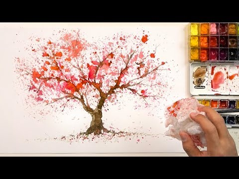 How to paint a cherry tree using a plastic bag | Easy painting technique - Sakura