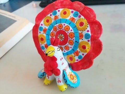 Дымковские игрушки из глины.  Птица.