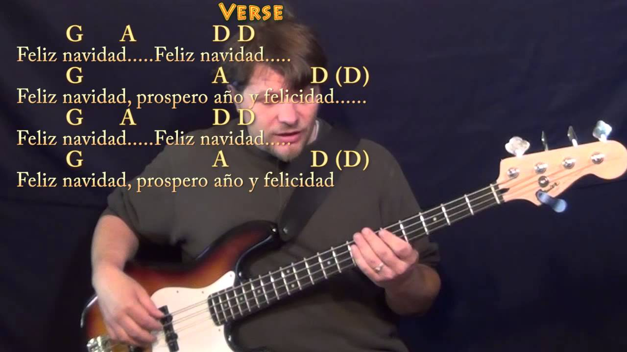 Feliz Navidad Bass Guitar Cover Lesson With Chords And Lyrics