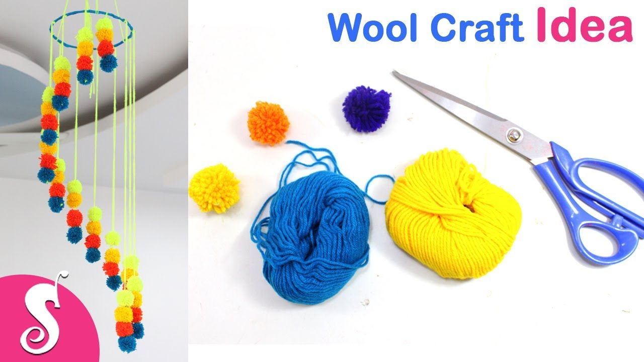 Wool Craft Idea Diy Pritty Ceiling Hanging Craft With Yarn