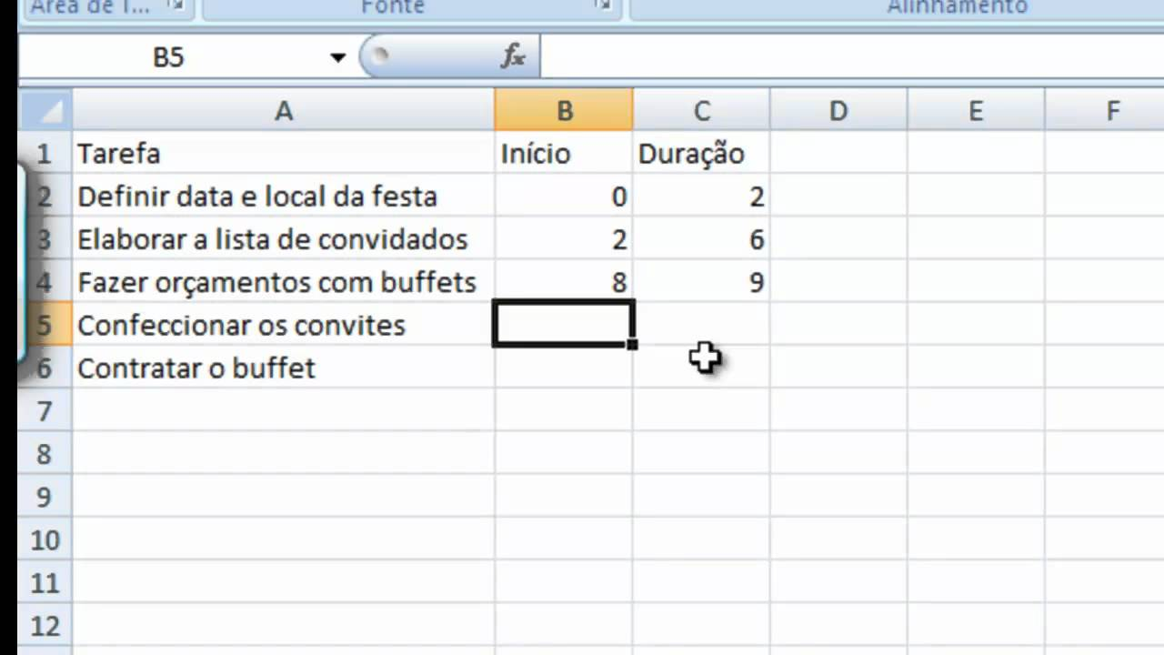 Simulando Grafico de Gantt no Excel - YouTube