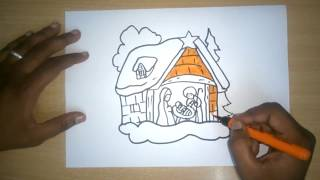 How to Draw a Nativity Scene Simple and Easy Drawing Tutorial for Beginners | Christmas drawings