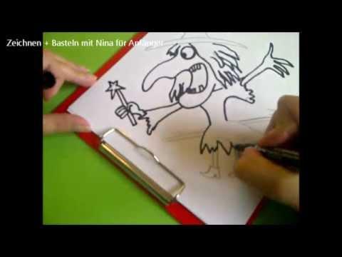 Eine Halloween Hexe Auf Dem Besen Zeichnen Drawing Witch On A Broom