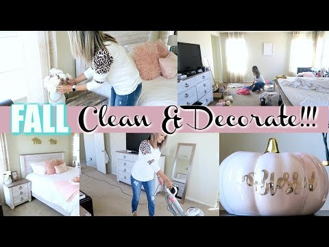 FALL CLEAN AND DECORATE WITH ME | BEDROOM | CLEANING MOTIVATION | FARMHOUSE GLAM DECOR