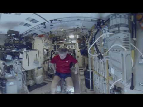 Workout in zero gravity at International Space Station. SPACE 360
