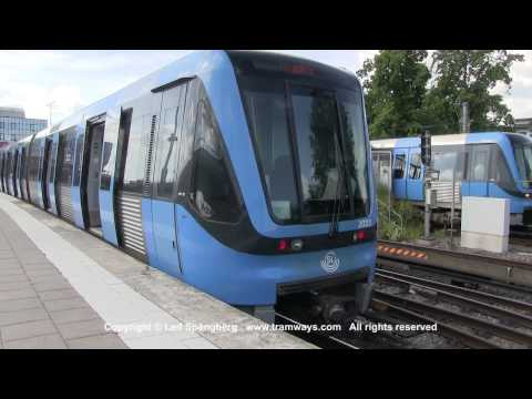 SL Tunnelbana tåg / Metro trains at Gullmarsplan station, Stockholm, Sweden