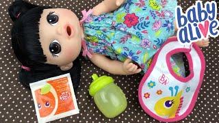 Feeding Baby Alive Sweet Spoonfuls Baby Vintage Orange Doll Juice Packet