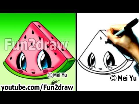 Kawaii Food - How to Draw Food - Watermelon - Popular Cartoon Drawing Video - Fun2draw