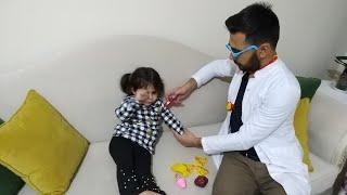 Yaramaz Ebrar çok fazla abur cubur yiyerek hasta oldu. Doktor gelip ona iyileşmesi için iğne yaptı.
