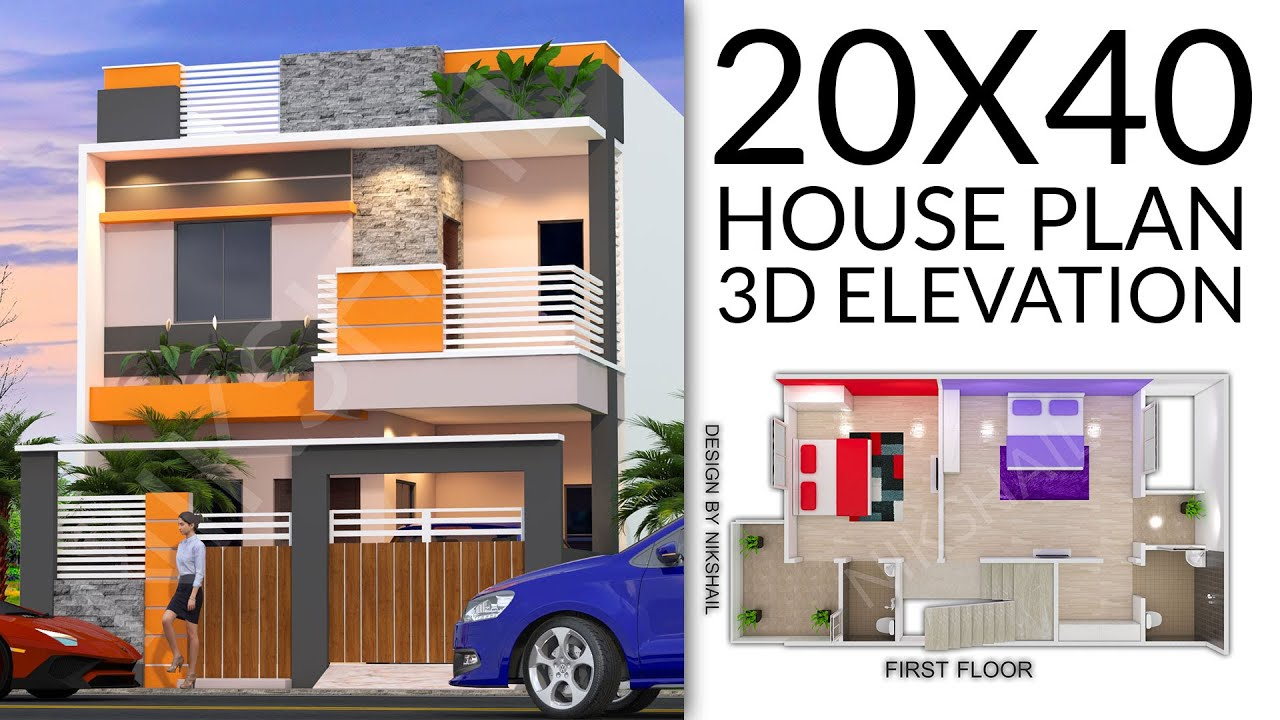 20X40 House plan with car parking 3d elevation by nikshail on
