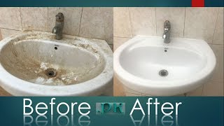 How To clean Bathroom sink ll Ceramic & Porcelain Sink Cleaning ll Clean Bathroom Sink Fast
