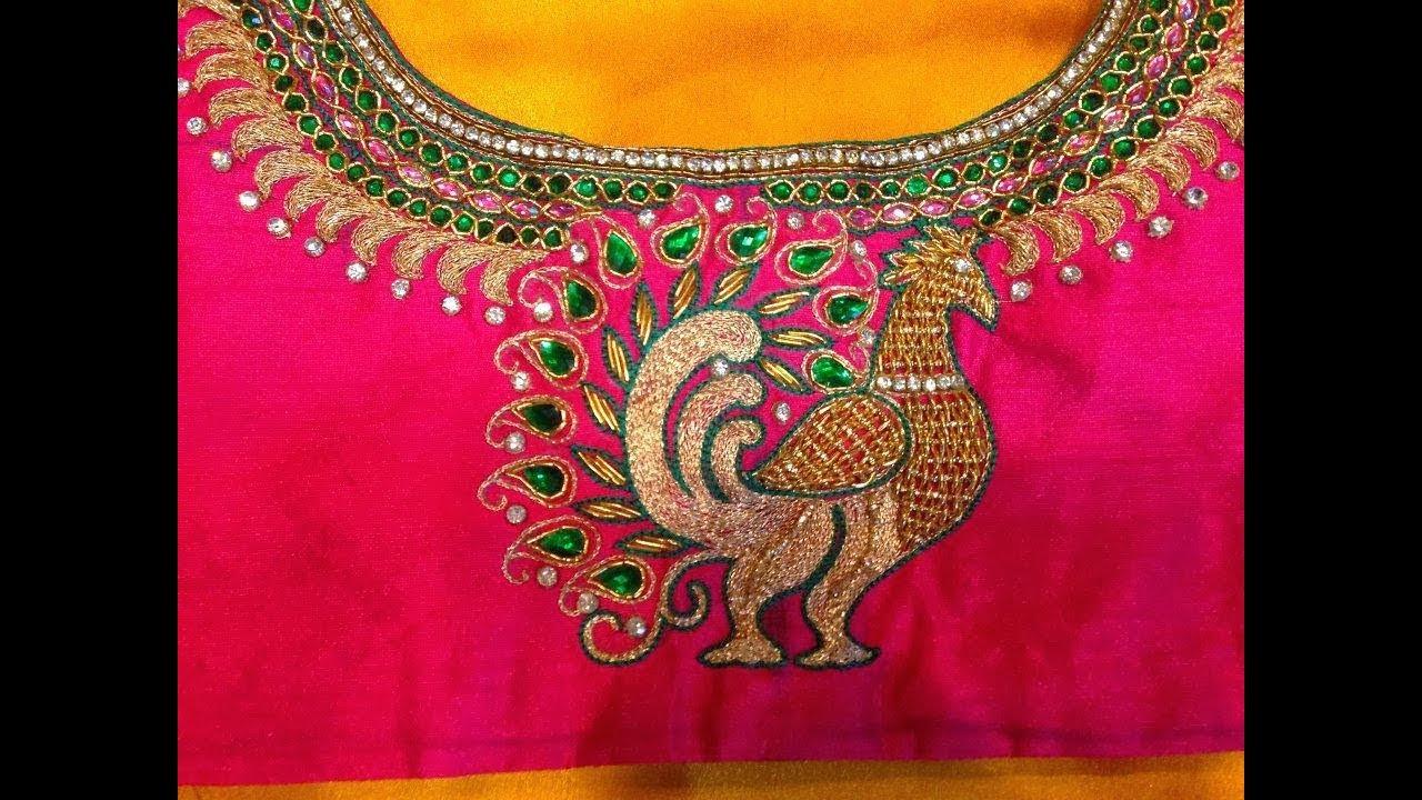 Peacock Design Backneck Blouse For Silk Sarees Embroidery Design