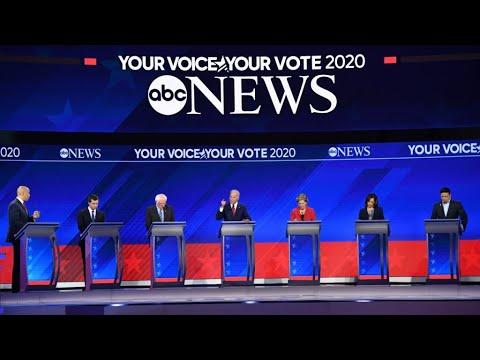 Frontrunners in Democratic debate spar over healthcare, stress unity - YouTube