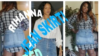 diy rihanna inspired frayed jean skirt