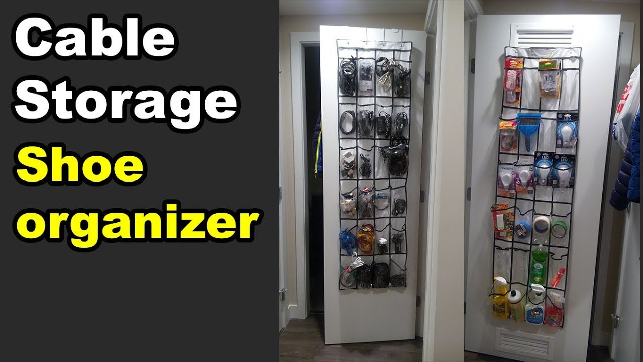 Hanging Shoe Organizer Hack For Cable Management Storage